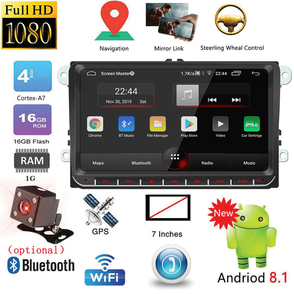 9 inches 2DIN Vehicle-mounted Bluetooth MP5 Player Android System GPS Navigation Integrated Host for VW With camera