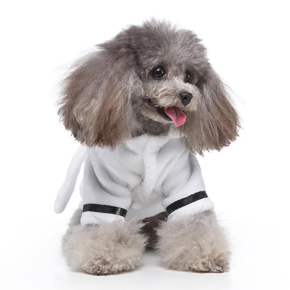 Pet Clothes Hotel Bath Towel Dog Cat Bathrobe Nightgown Pajamas white_M