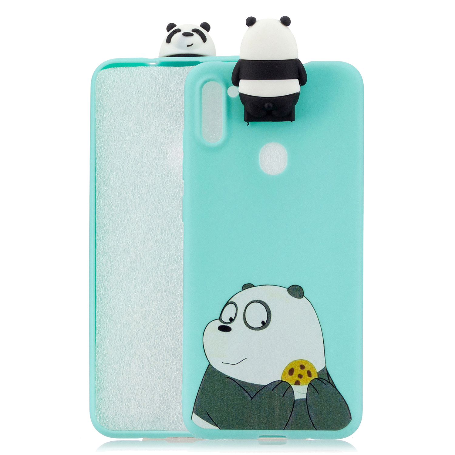 For Samsung A11 Soft TPU Back Cover Cartoon Painting Mobile Phone Case Shell with Bracket Striped Bear