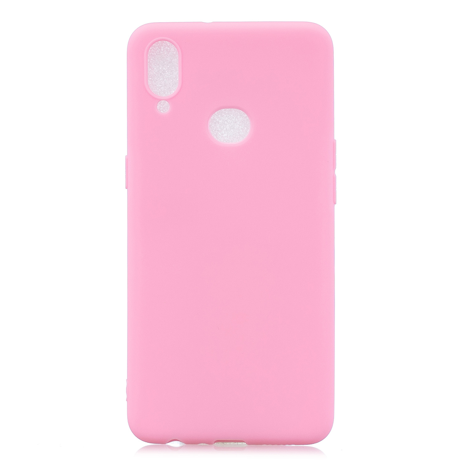 For Samsung A10S A20S Shockproof TPU Back Cover Soft Candy Color Frosted Surface Mobile Phone Case dark pink