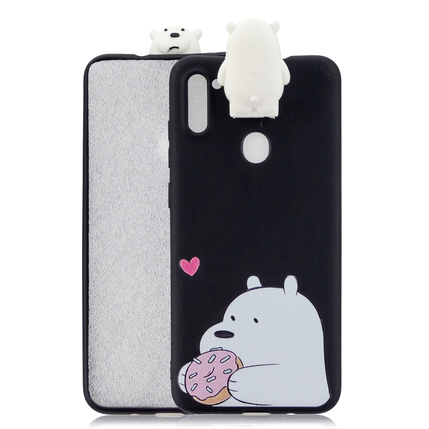 For Samsung A11 Soft TPU Back Cover Cartoon Painting Mobile Phone Case Shell with Bracket big white bear