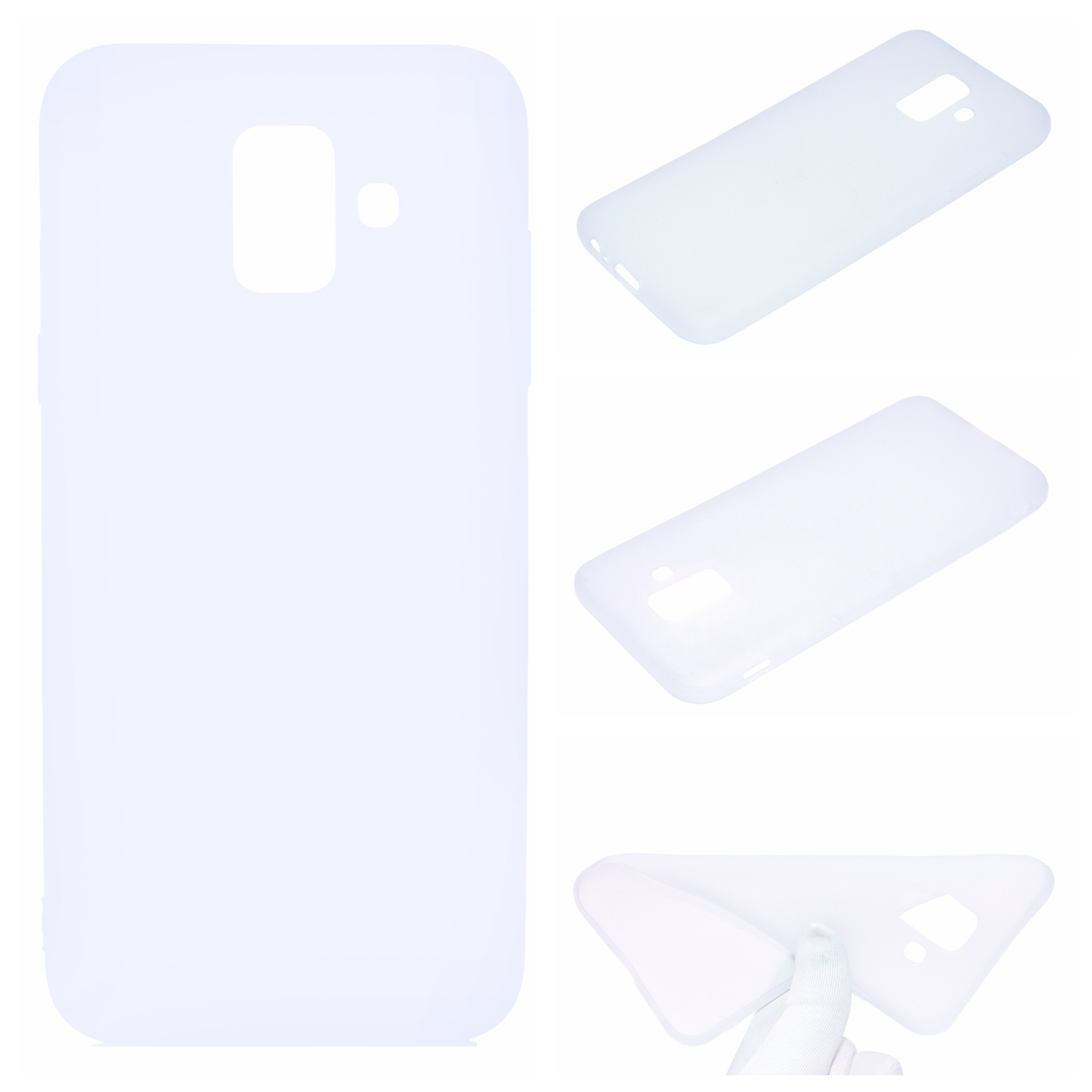 for Samsung A6 2018 Lovely Candy Color Matte TPU Anti-scratch Non-slip Protective Cover Back Case white