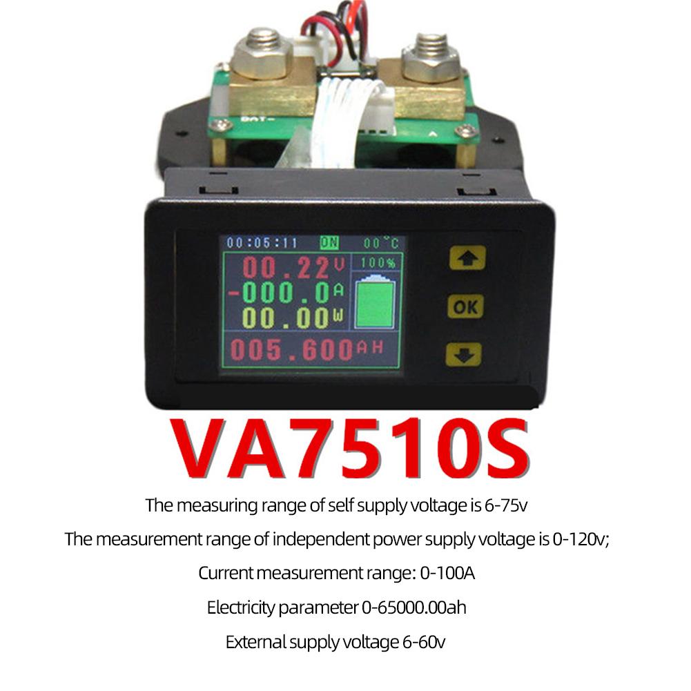 Lcd Combo Meter Voltage Current Kwh Watt  Meter 12v 24v 48v 96v Battery Capacity Power Monitoring 1.8inch 100a