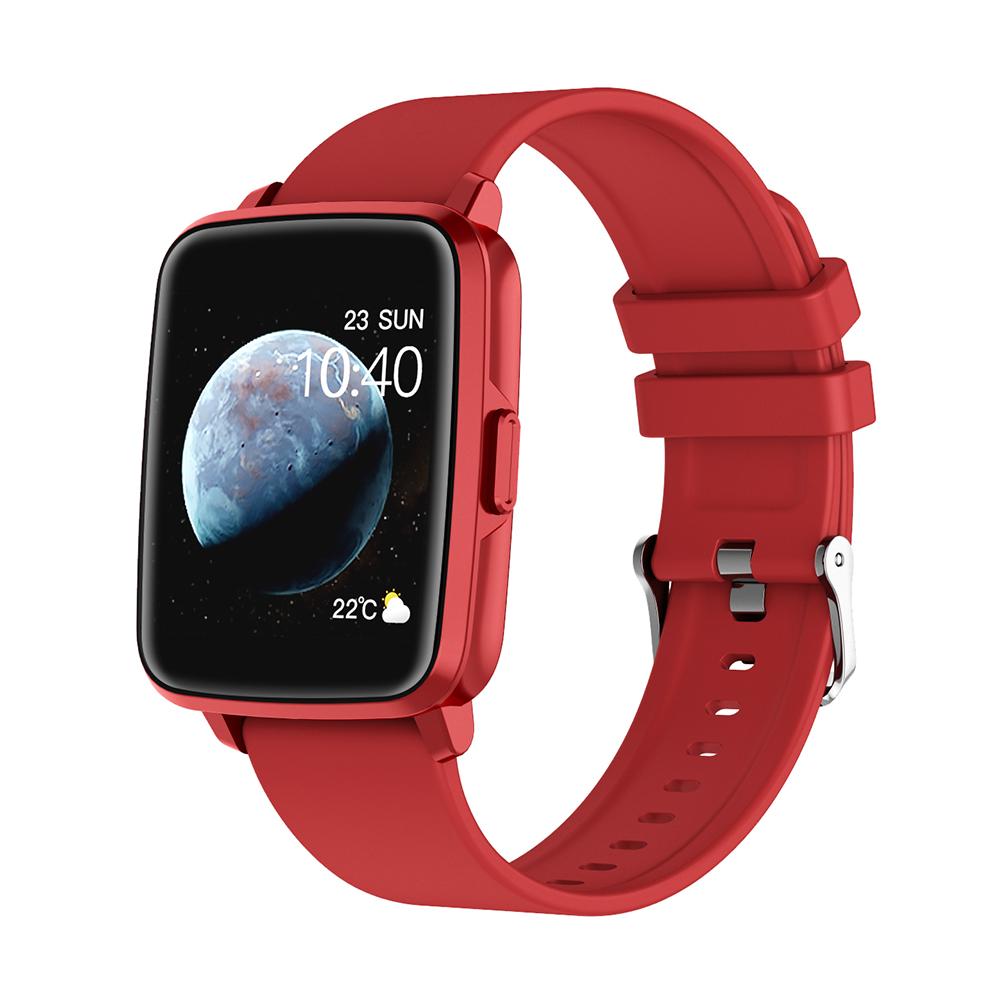 Smart  Watch Hd Screen Music Ip68 Waterproof Sports Monitoring Heart Rate Sleep Pedometer Smart Watch Red rubber belt