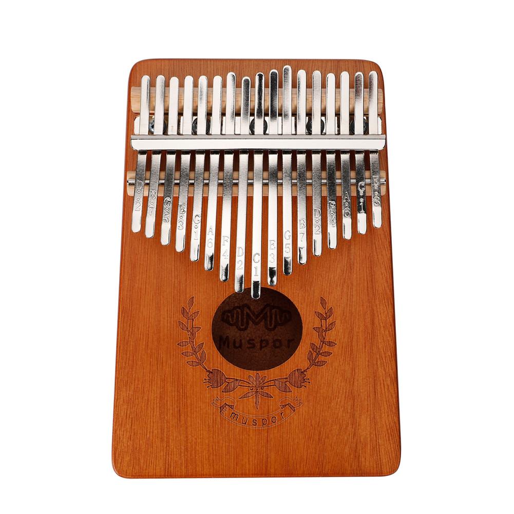 17-keys Mahogany Kalimba Finger Thumb Piano Mbira Garland Style Thumb Piano Wood color