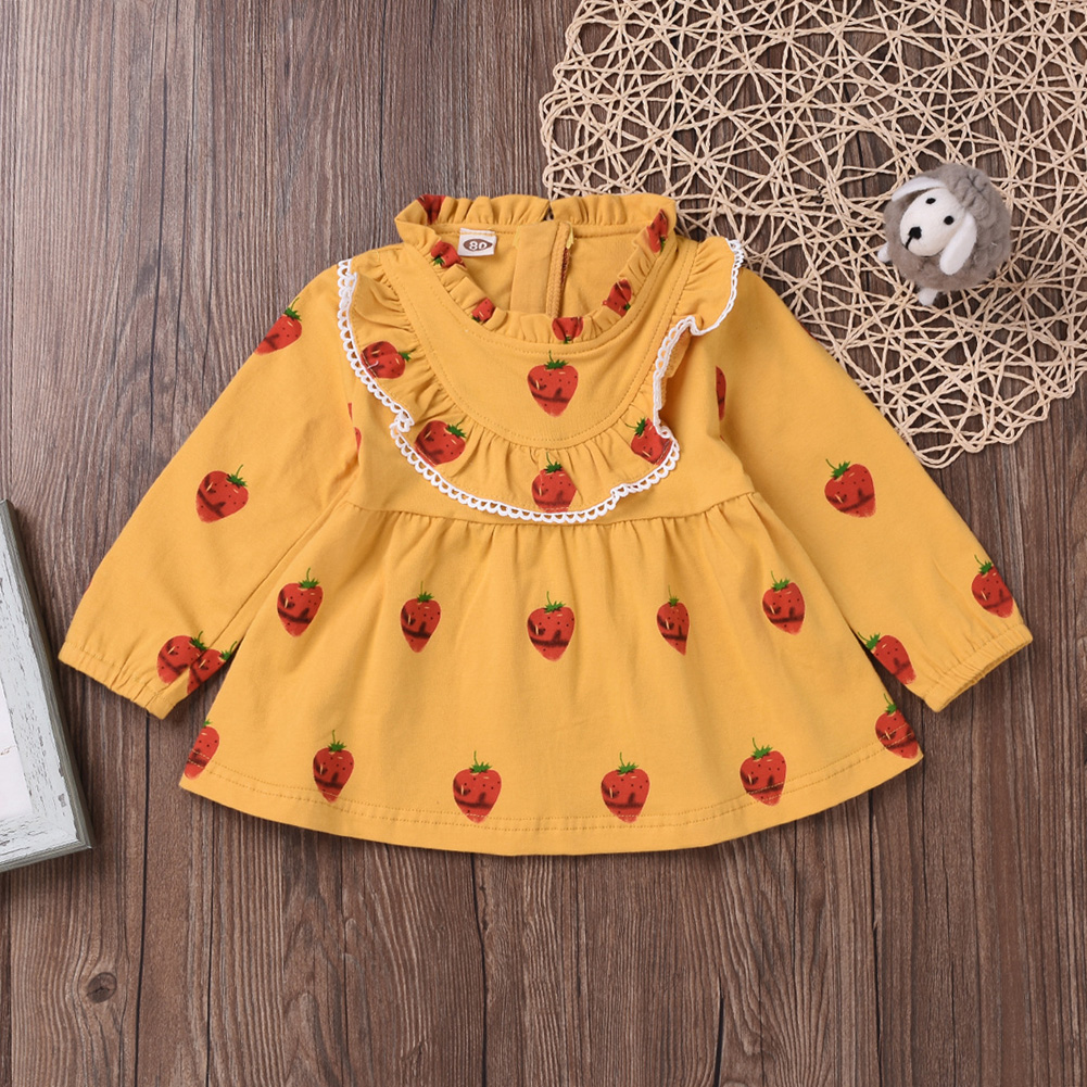 Cute Zippered Girls Dress Long Sleeves and Flouncing Collar Skirt with Strawberry Decorated yellow_90cm