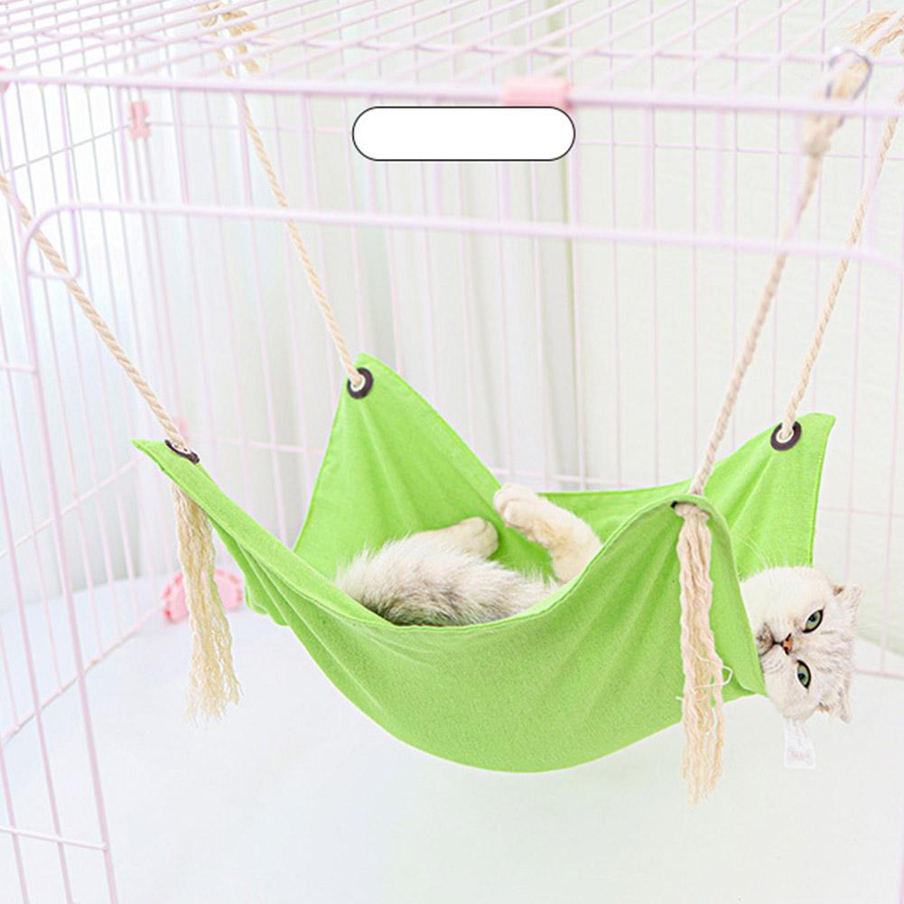 Summer Pet Hanging Nest Breathable Cotton Linen Tassels Hammock for Cats ArmyGreen_47*47CM
