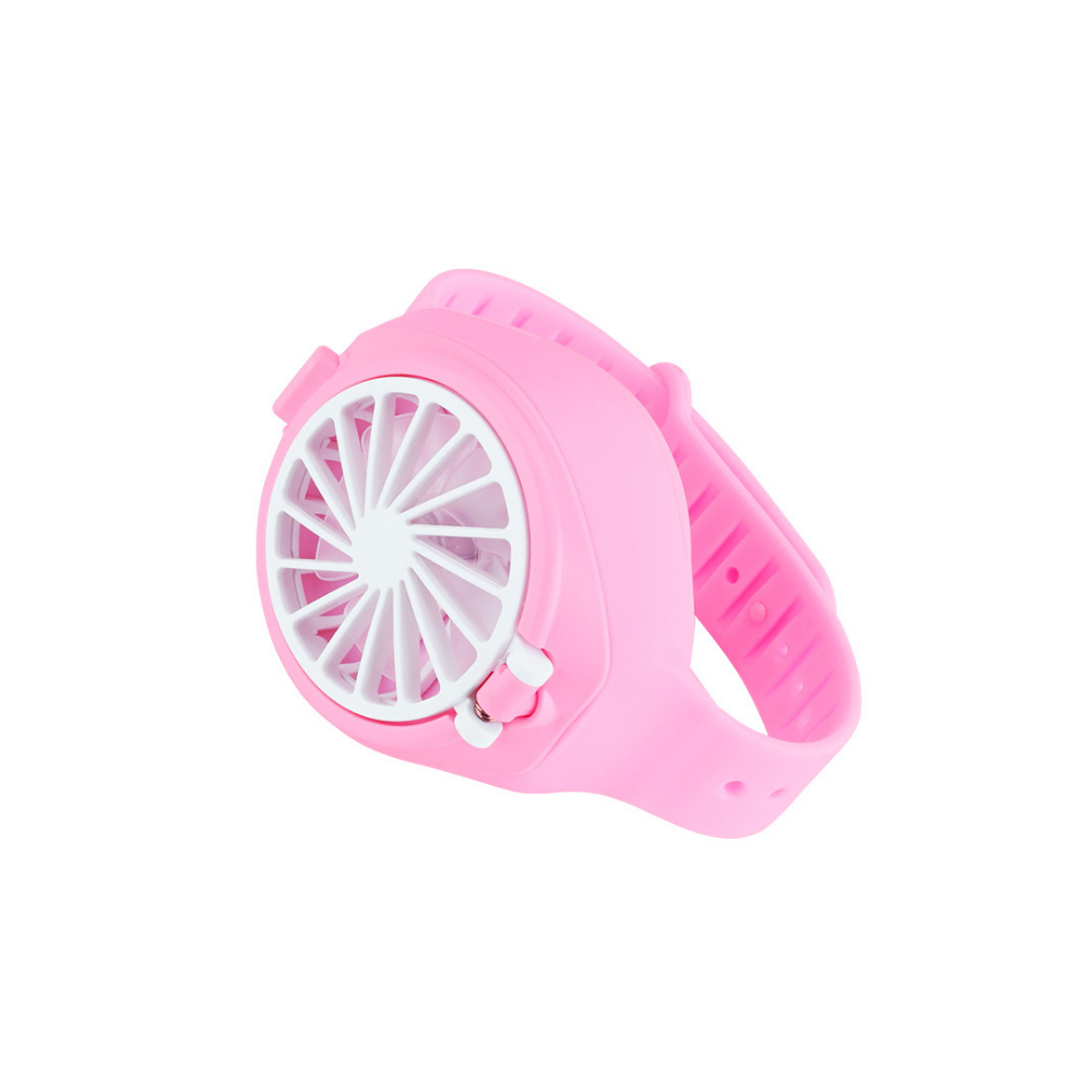 Wrist Type Mini Fan Outdoor Summer Rechargeable USB Pocket Small Fan Watch Fan Pink_Fan