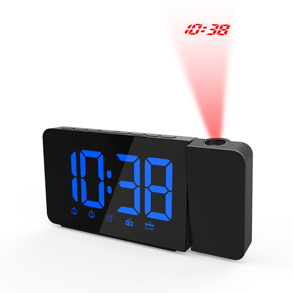 Digital LED Display Radio Alarm Clock Projection Snooze Timer blue