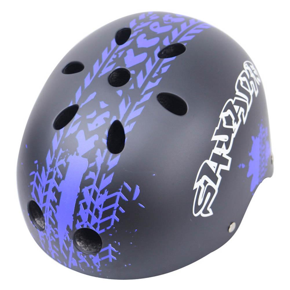 Children Skateboard Helmet Skating Stunt Bike Crash Protective Safety Helmet CE Authentication Exquisite Applique Style Black and purple_XXL