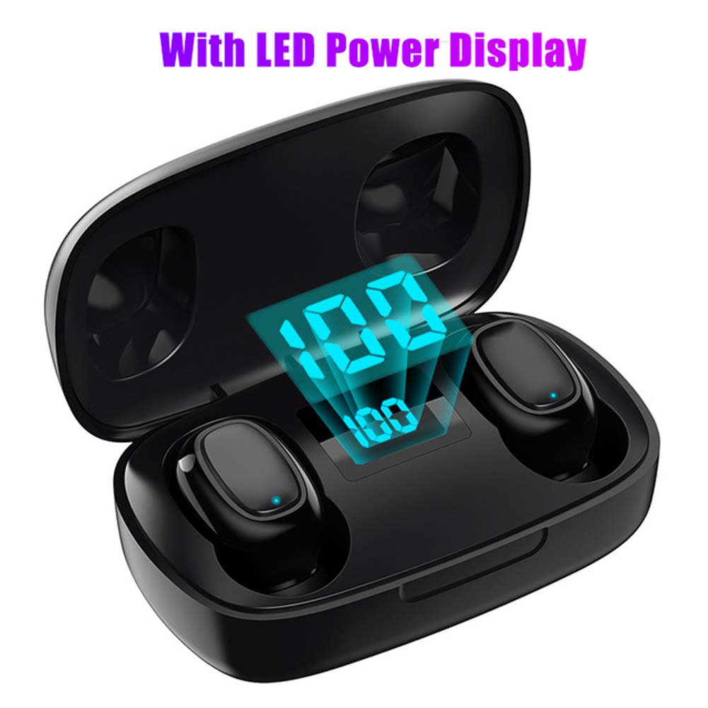 L12 HIFI Wireless Headset Bluetooth 5.0 Dual Sports Headphone 3D Stereo Portable Magnetic with Charging Case LED black