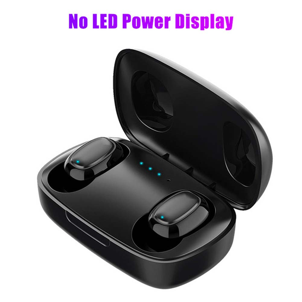 L12 HIFI Wireless Headset Bluetooth 5.0 Dual Sports Headphone 3D Stereo Portable Magnetic with Charging Case black