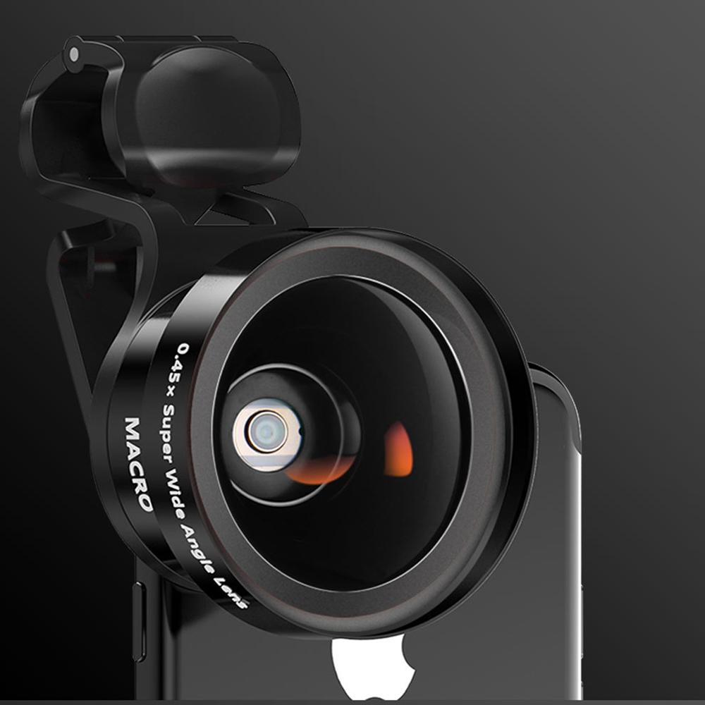 1 Set Of Lens Metal Material Mobile Phone Lens 0.45 Wide Angle Macro 2 In 1 Set External SLR Camera Tools black