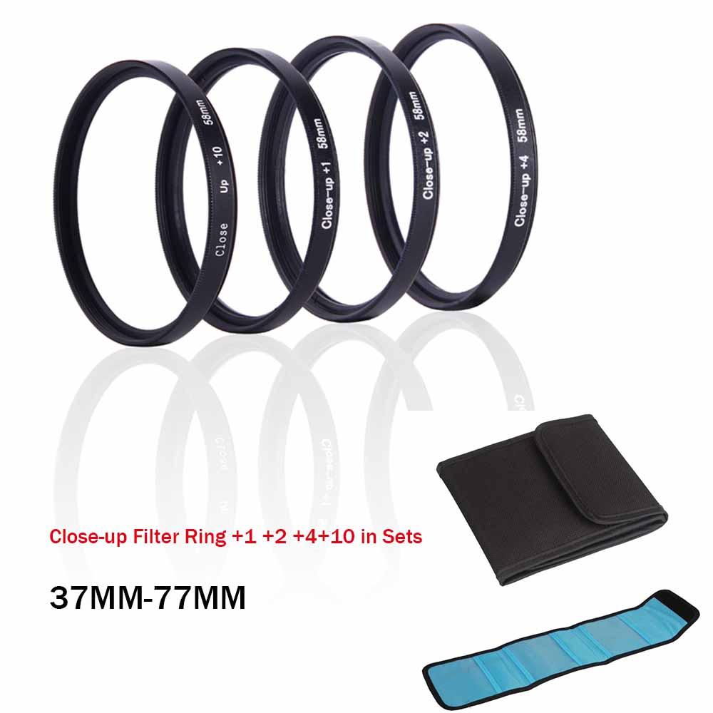 Close-up Filter Ring +1 +2 +4+10 in Sets for SLR / Digital Camera Camcorder 58MM