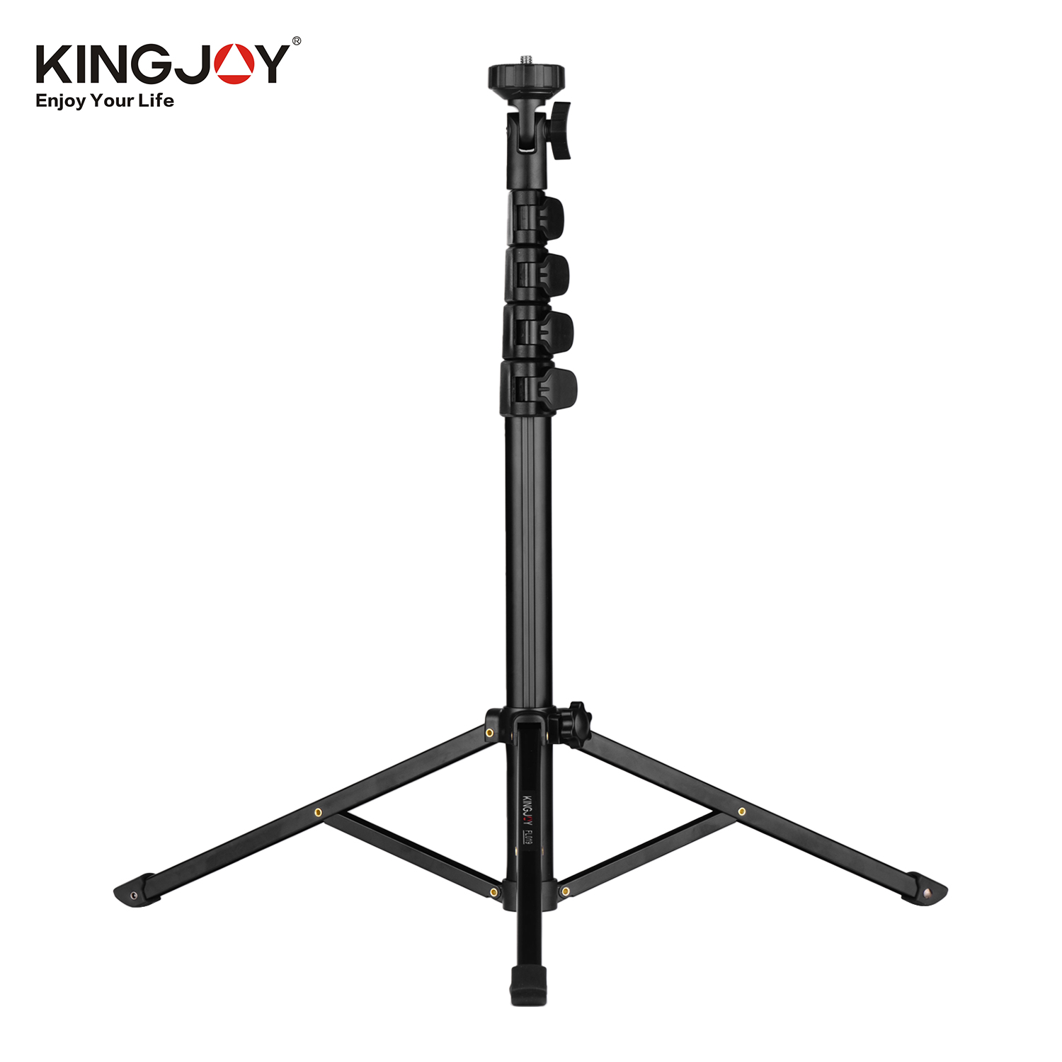 Kingjoy Photography Video Tripod Live Aluminum Alloy 1/4in Screw for Camera Smartphone Video Light black