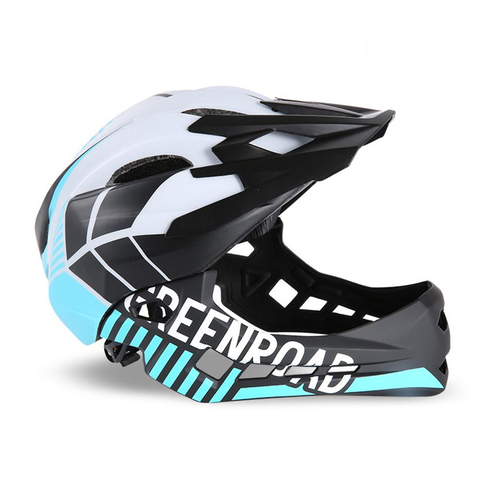 Roller Skating Helmet Children Bicycle Roler Adjustable Riding Safe Helmet Full face helmet white_S