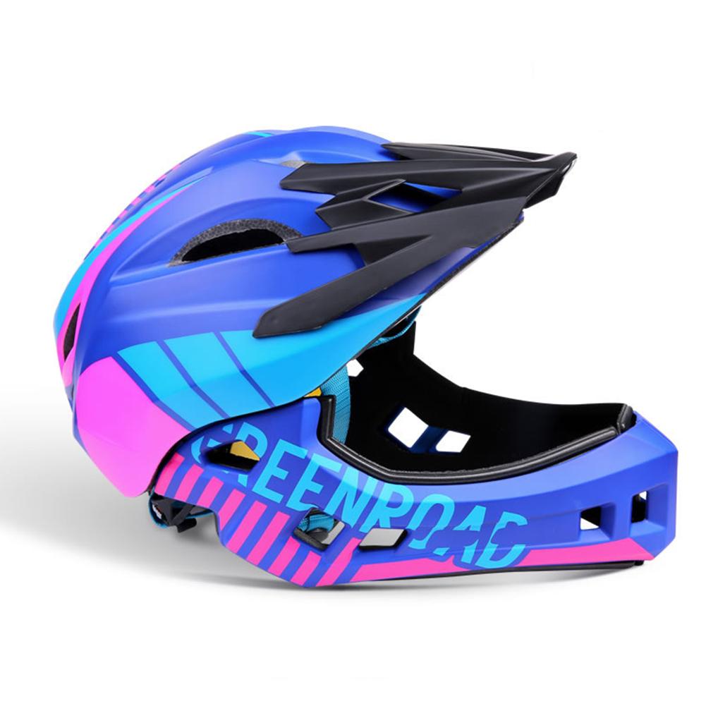 Roller Skating Helmet Children Bicycle Roler Adjustable Riding Safe Helmet Full face helmet blue_S