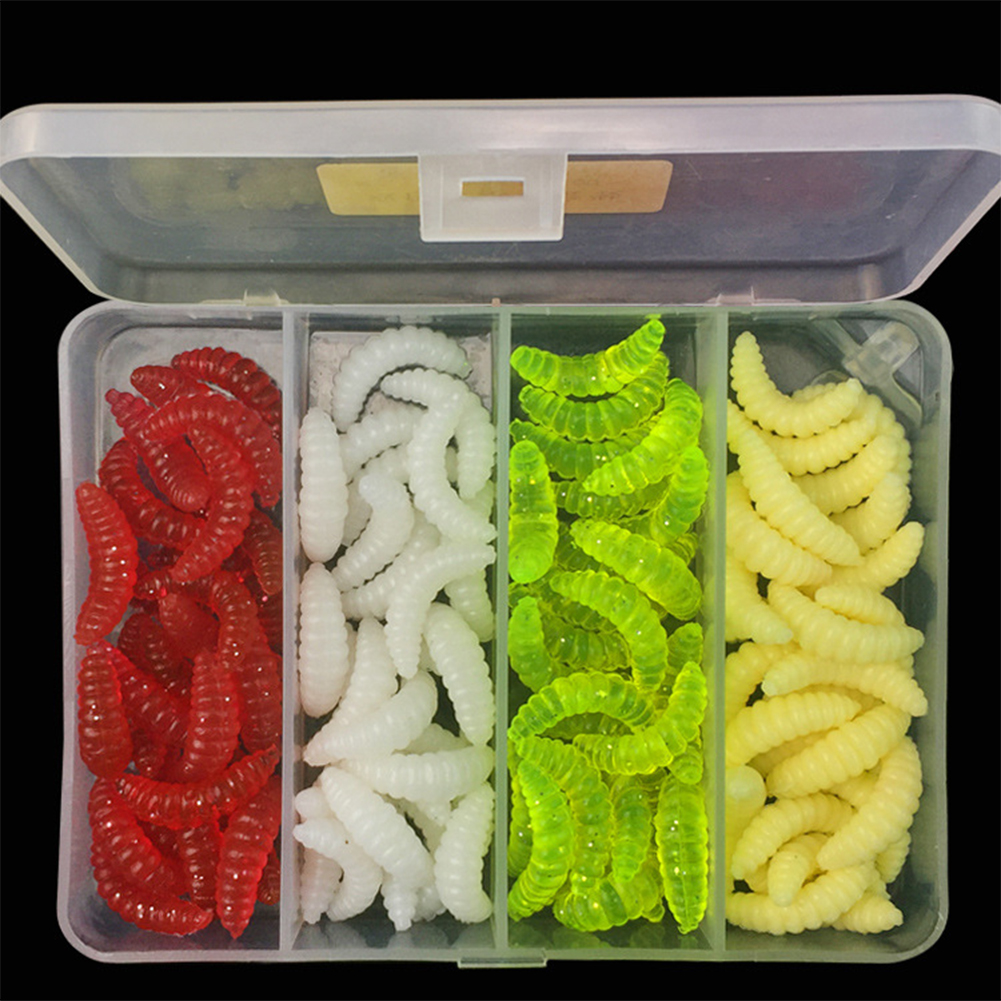 100 Pcs 4 Colors Fishing Lures Artificial Bread Bug Soft Bait Set Fishing Baits with Tackle Box