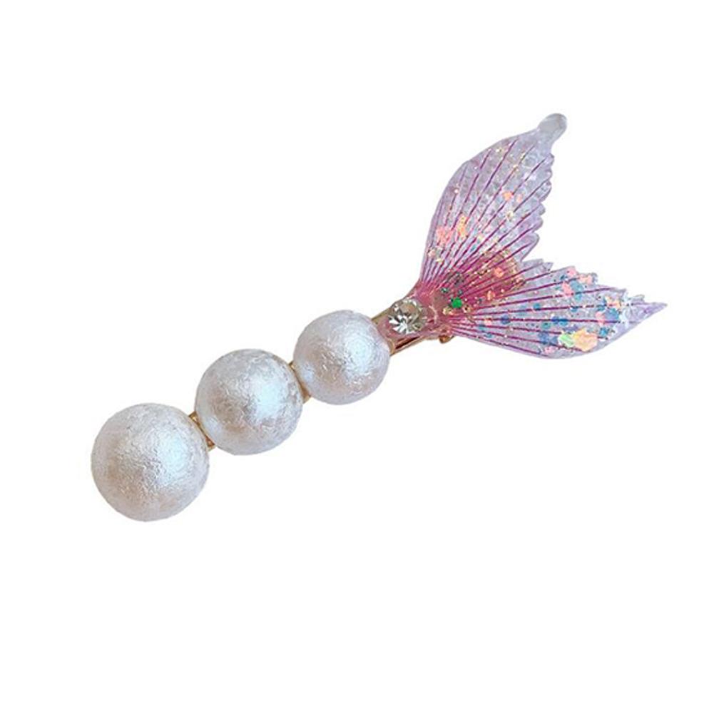 Women's Hair Clip Pearl Fish Tail Shape Sequins Side Clip Headgear 1#purple
