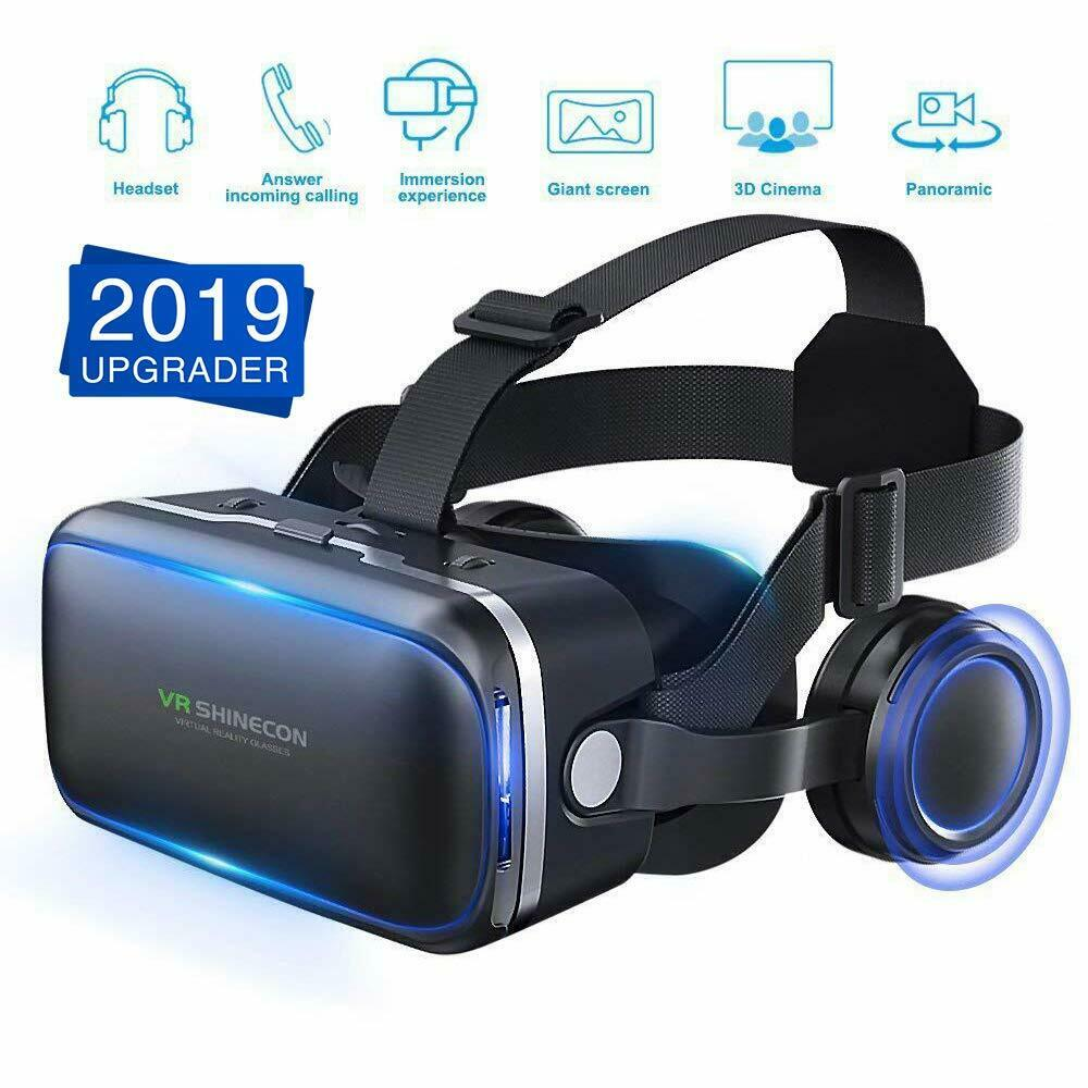 3D Glasses Virtual Reality Headset VR Box Goggles for Android iPhone Samsung black