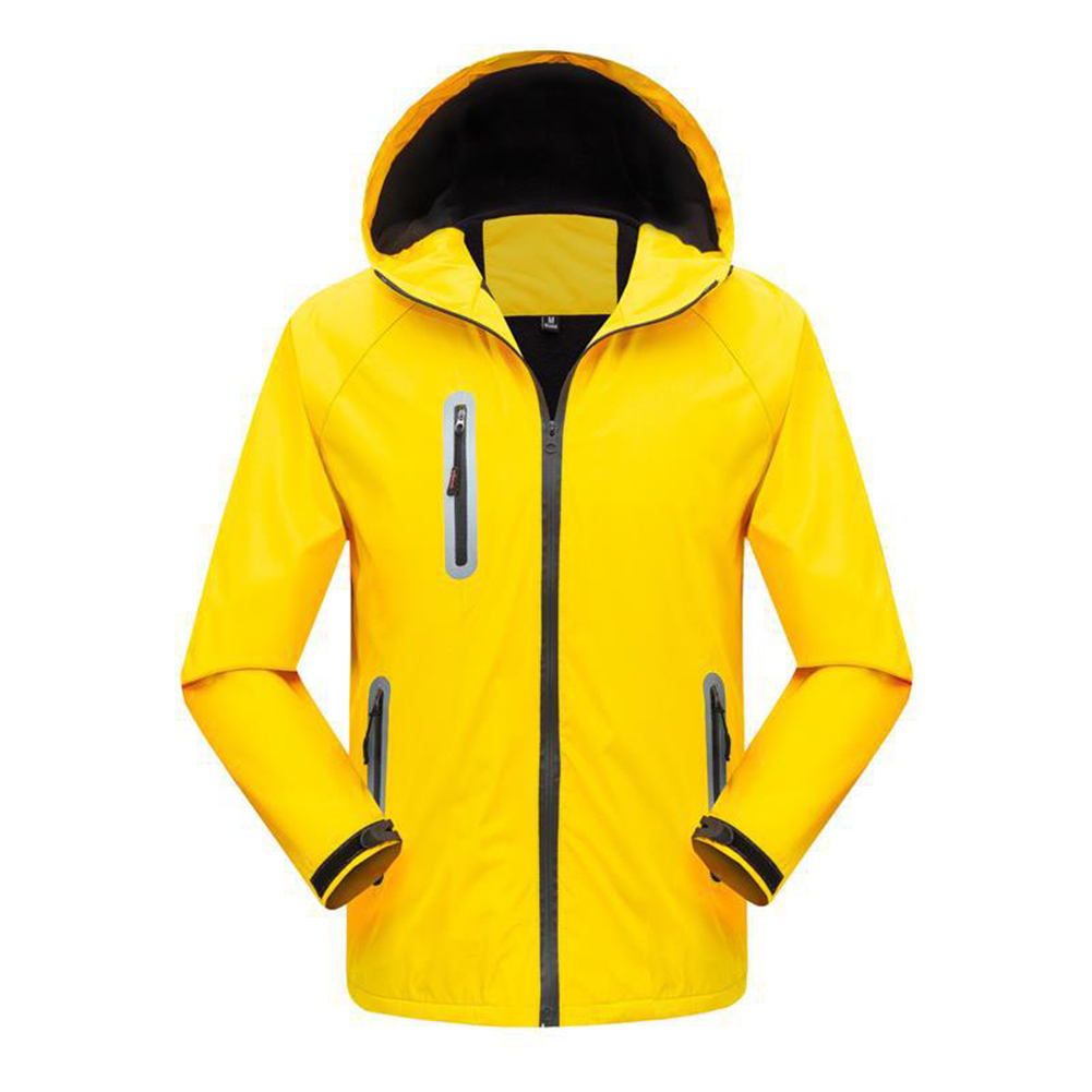 Men's and Women's Jackets Autumn and Winter Outdoor Reflective Waterproof and Breathable  Jackets yellow_L