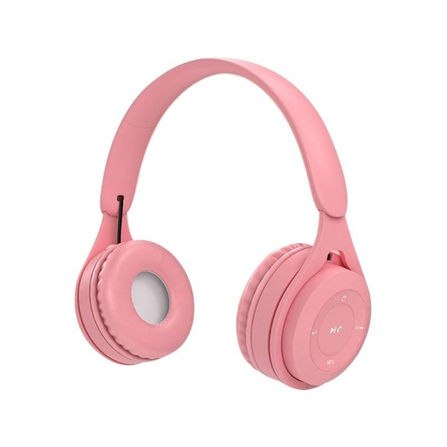 Bluetooth Wireless Headphones Macaron Color Hifi Music Auto Pairing Earphones Can Inserted TF Card Headsets Pink