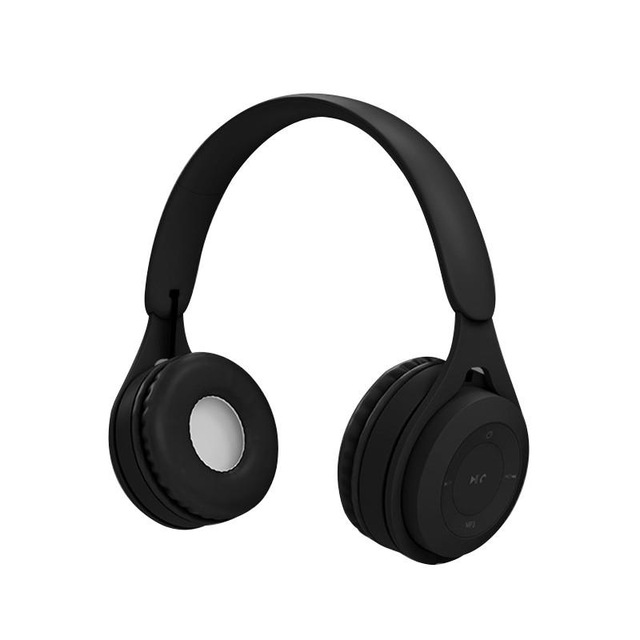 Bluetooth Wireless Headphones Macaron Color Hifi Music Auto Pairing Earphones Can Inserted TF Card Headsets black