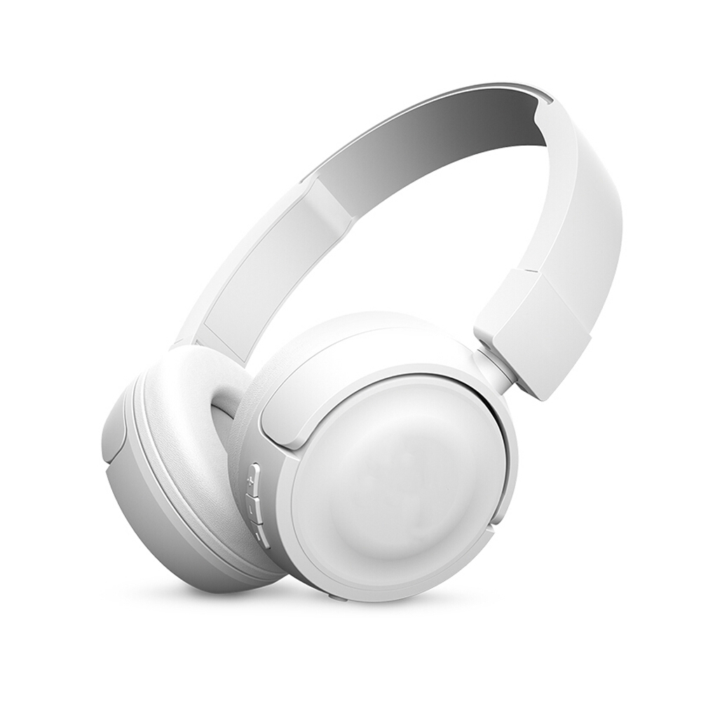 T450BT Wireless Bluetooth Headphones Flat-foldable on-Ear Headset with Mic Noise Canceling Earphone Call & Music Controls white