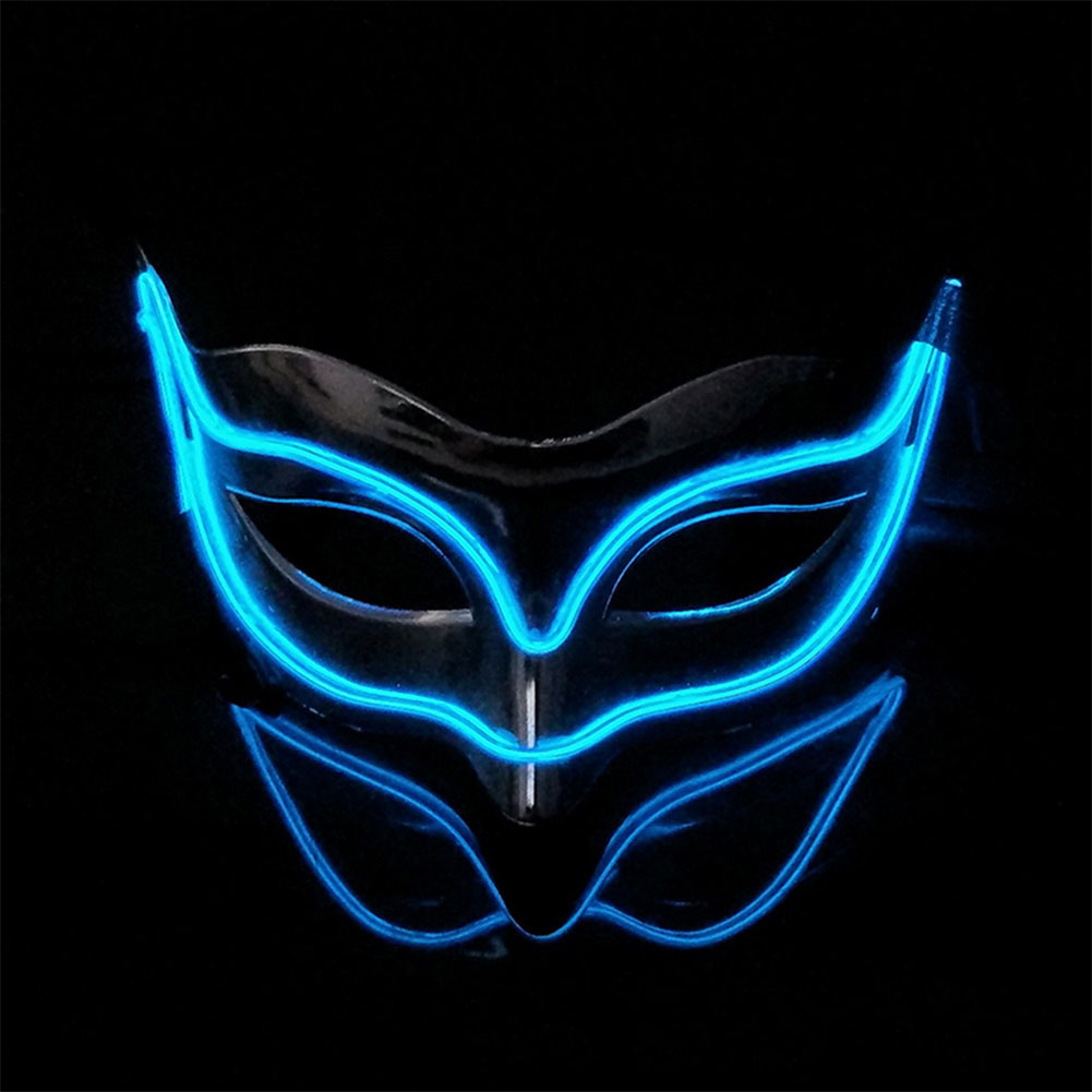 Lovely LED Neon Half Eyes mask for Halloween and Christmas Ball Party Birthday Mask Navy blue