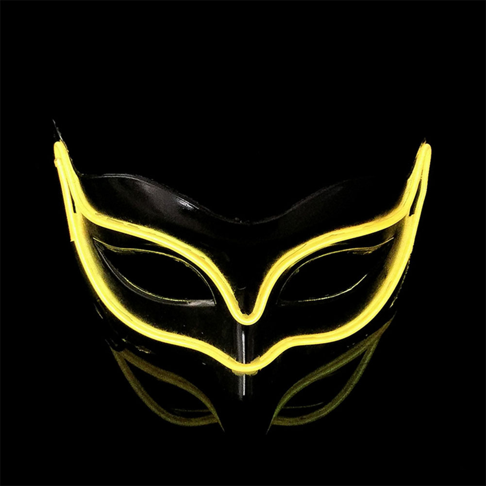 Lovely LED Neon Half Eyes mask for Halloween and Christmas Ball Party Birthday Mask yellow
