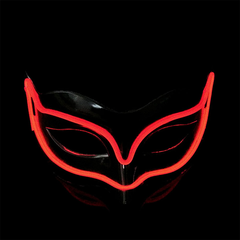 Lovely LED Neon Half Eyes mask for Halloween and Christmas Ball Party Birthday Mask red