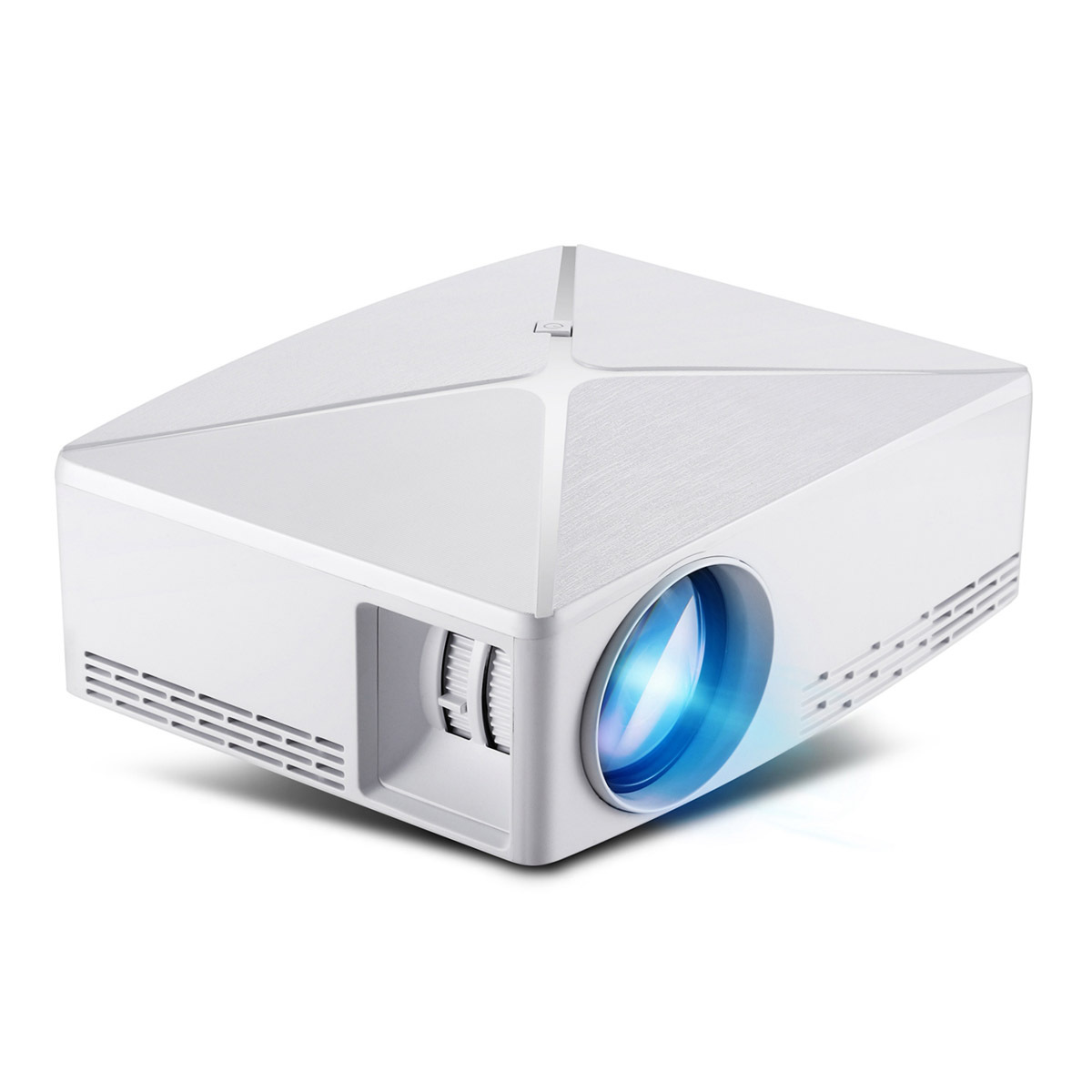 C80 Mini Projector 720P HD Multimedia System Portable Beamer for Home and Office with 2200 Lumens Brightness white_EU Plug