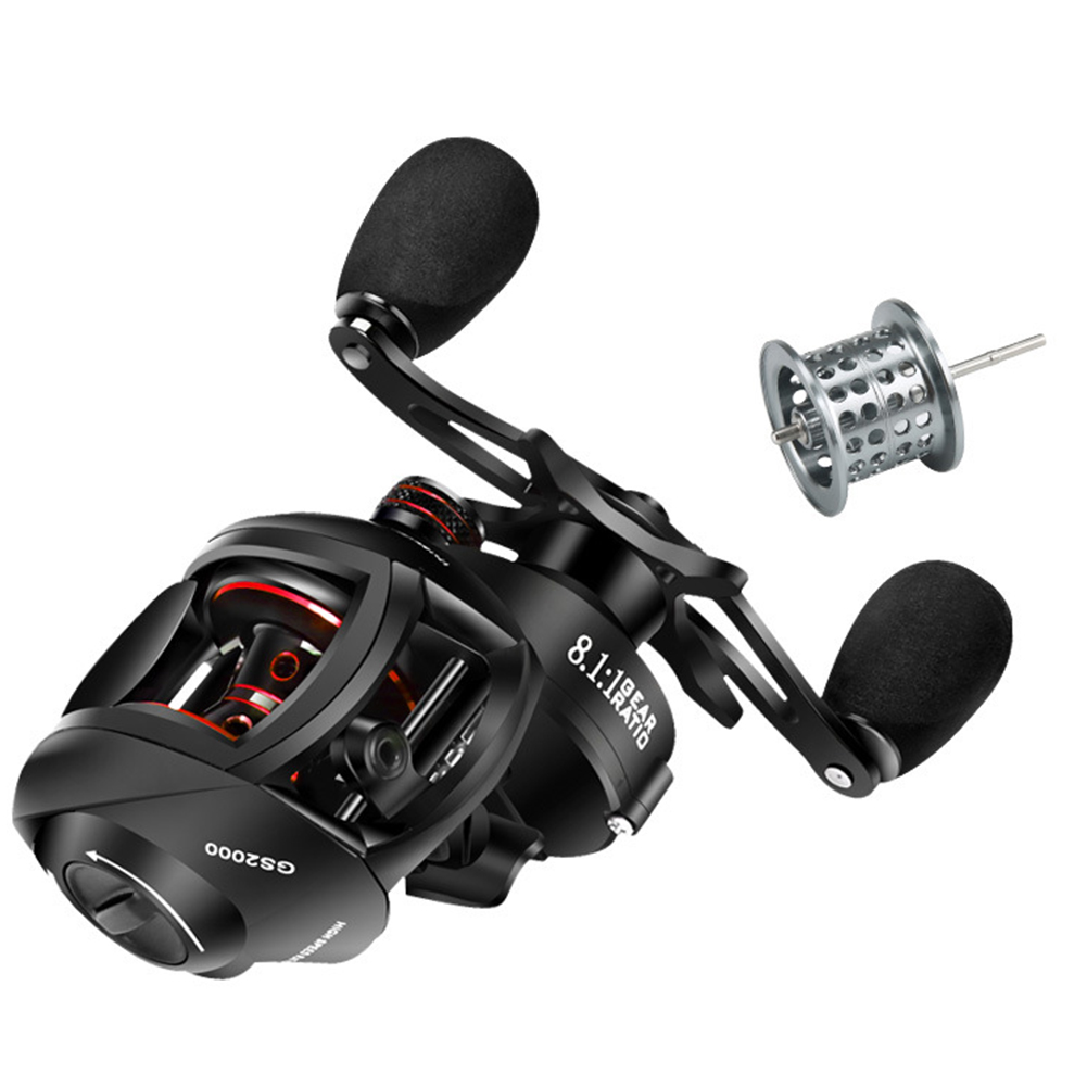 Double-line Cup Fishing Reel Right/ Left Hand Wheel Long-distance Throwing Dripping Wheel GS black red [left hand wheel] two wire cups