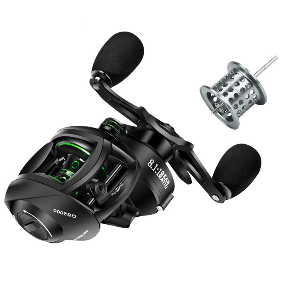 Double-line Cup Fishing Reel Right/ Left Hand Wheel Long-distance Throwing Dripping Wheel GS black and green models [left hand wheel] two wire cups