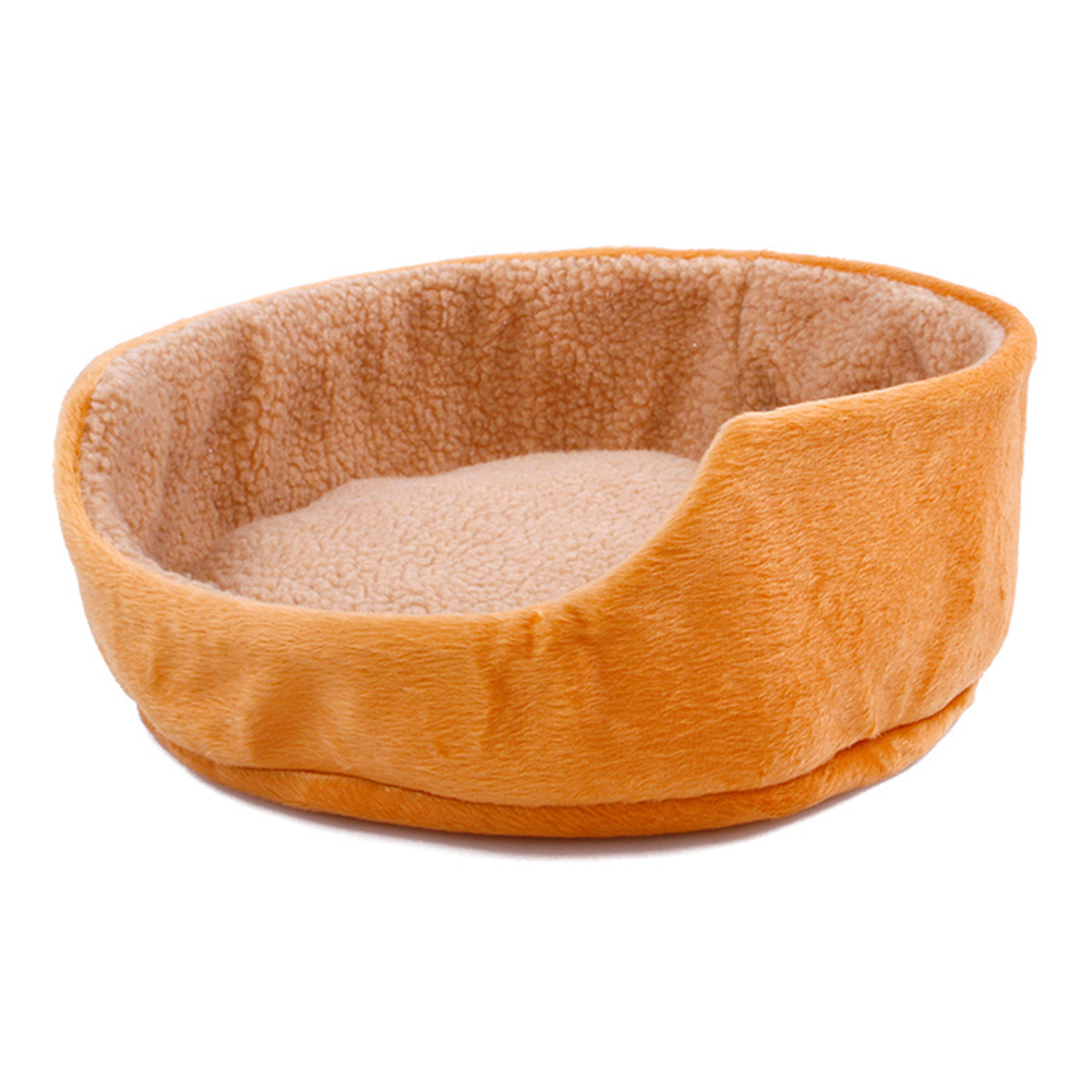 Cute Soft Pet Dog Cat Bed Warm Round Kennel Pet Mat Breathable Fade-Proof Suitable for Four Seasons yellow