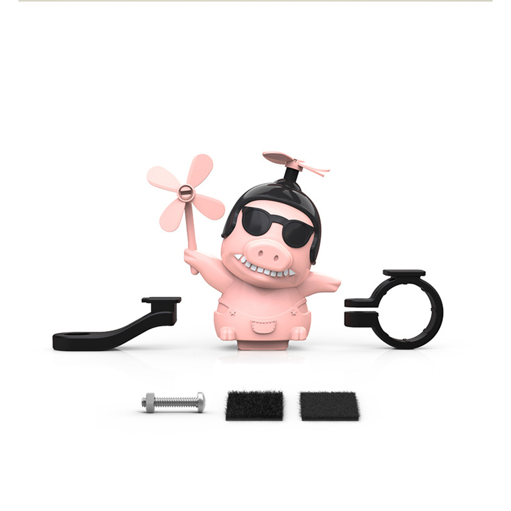 Motorcycle Windmill Pig Helmet  Decoration Rear View Mirror Helmet Decoration Toy Piggy Motorcycle Accessories Pink