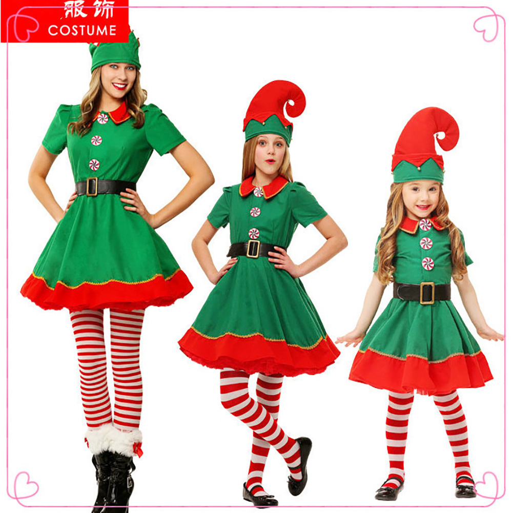 Elf Christmas Costume Halloween Cosplay Costume Children Performance Costume Female_120cm