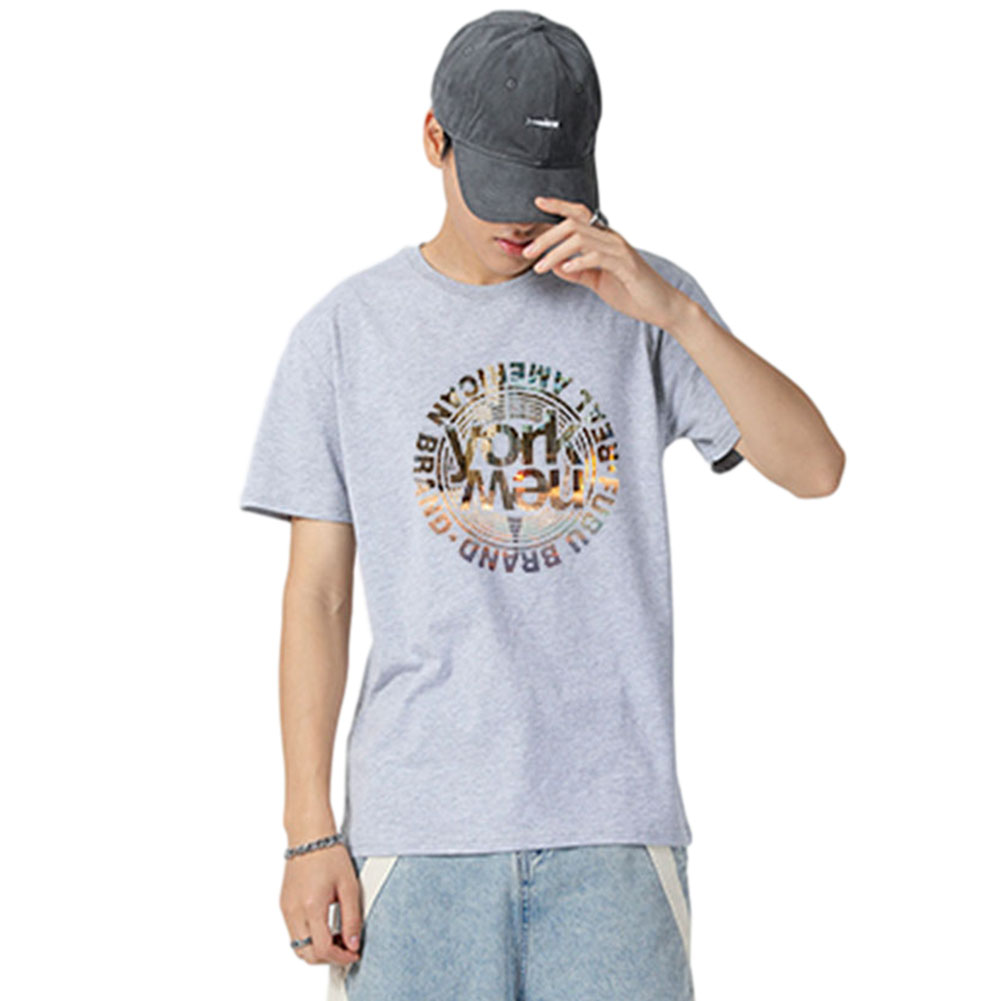 Men's and Women's T-shirt Short-sleeve Summer Retro Style Loose Letter Printing Casual Top Gray_L