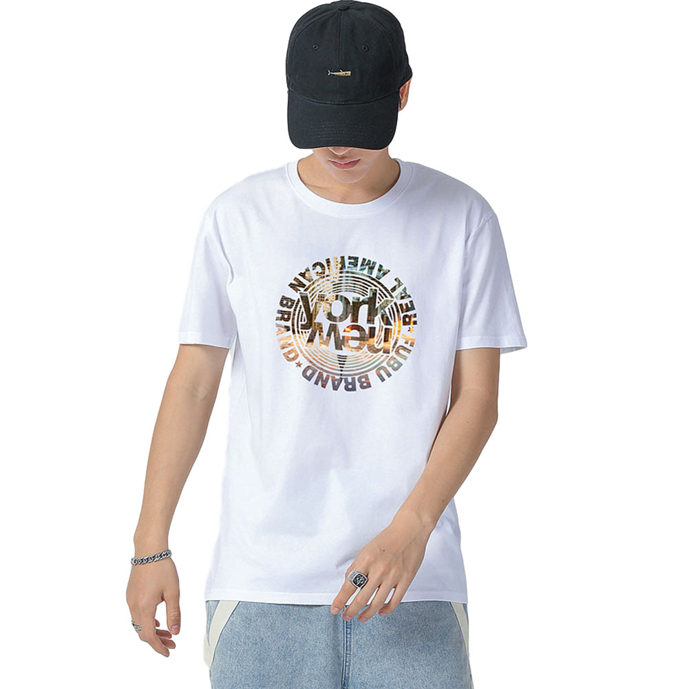 Men's and Women's T-shirt Short-sleeve Summer Retro Style Loose Letter Printing Casual Top White _XL