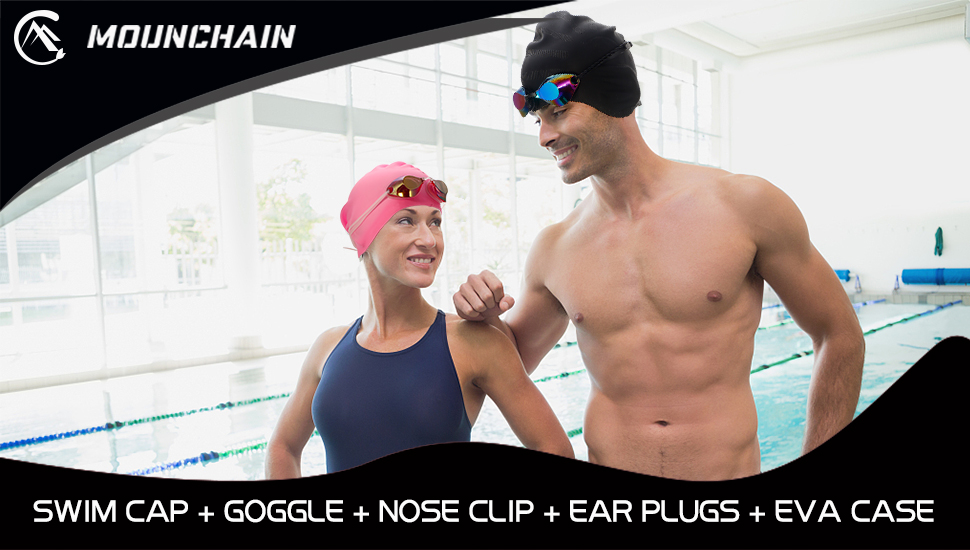 MOUNCHAIN Swimming Cap Swimming Goggles, Premium-Quality Silicone Swim Cap&Anti Fog UV Protective Goggles for Adult(Nose Clip Ear Plugs Sets Included)