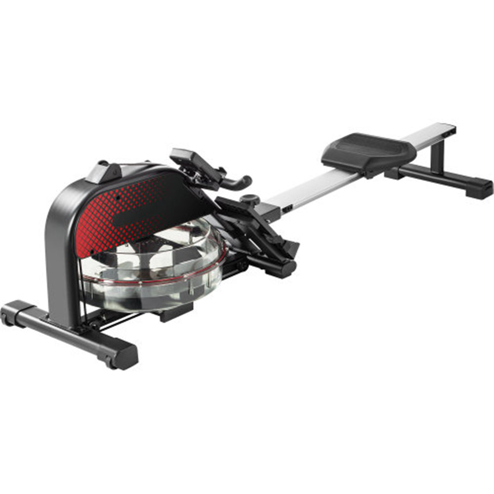 [US Direct] Foldable Water  Rowing  Machine For Heath Exercise Fitness Home Rower With Lcd Display black