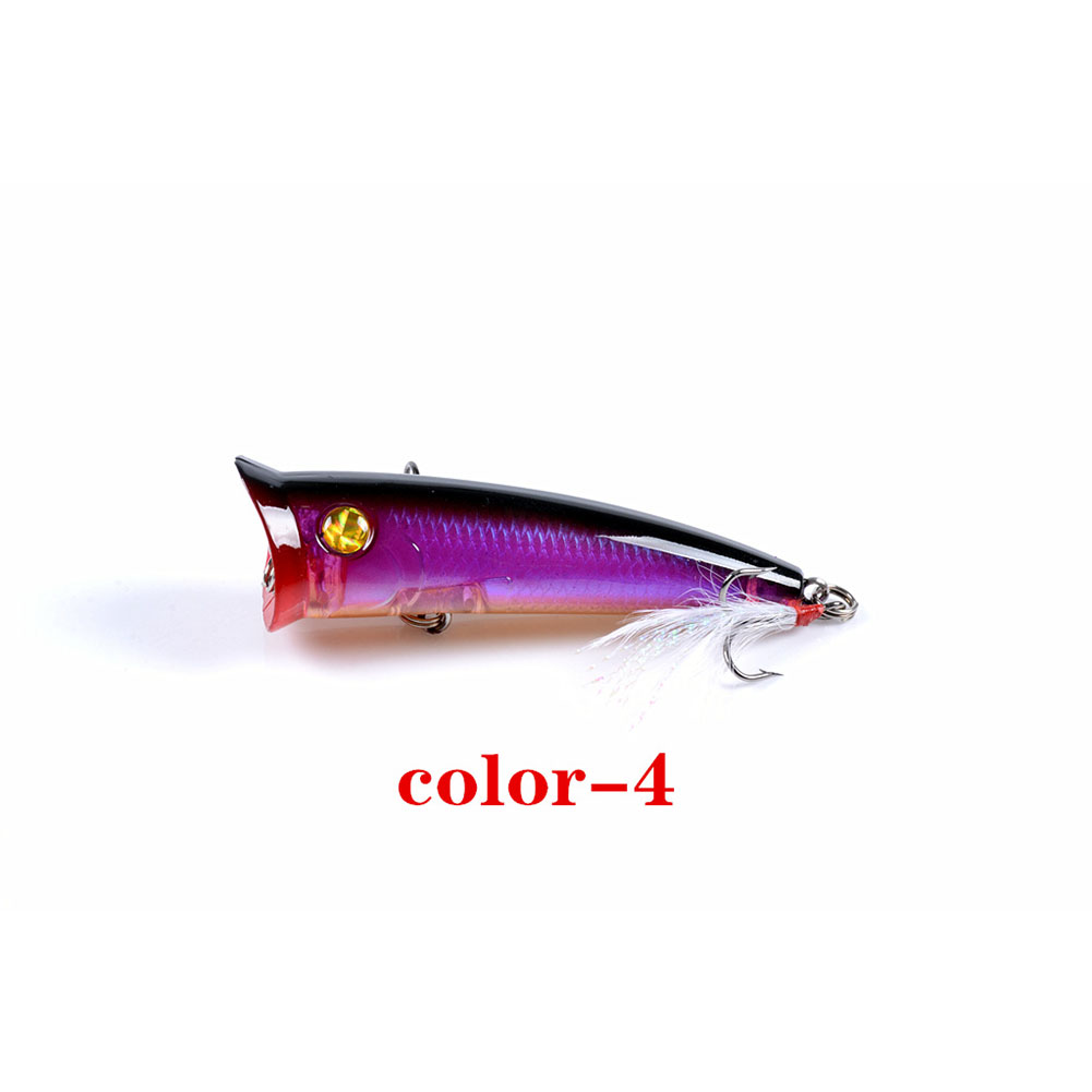 Fishing Lure 7.8cm 10.5g Topwater Wobbler Artificial Hard Bait with Feather Hook 4#