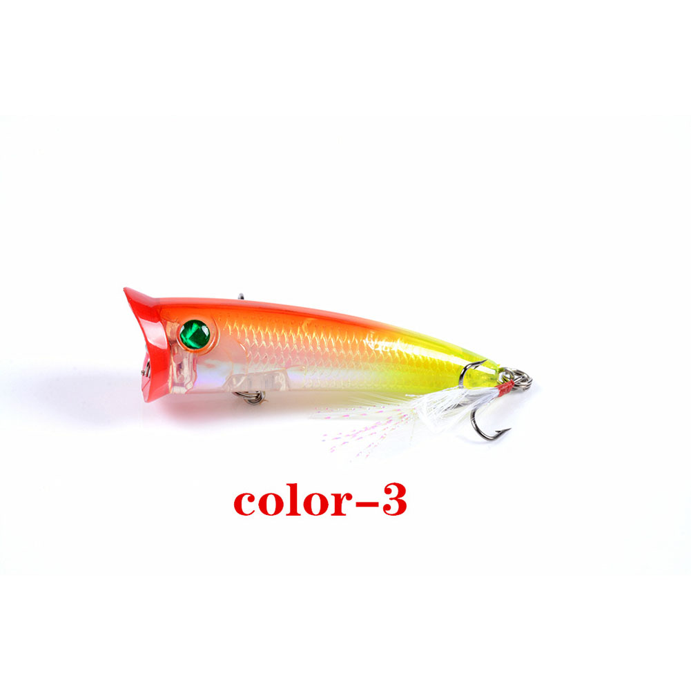 Fishing Lure 7.8cm 10.5g Topwater Wobbler Artificial Hard Bait with Feather Hook 3#