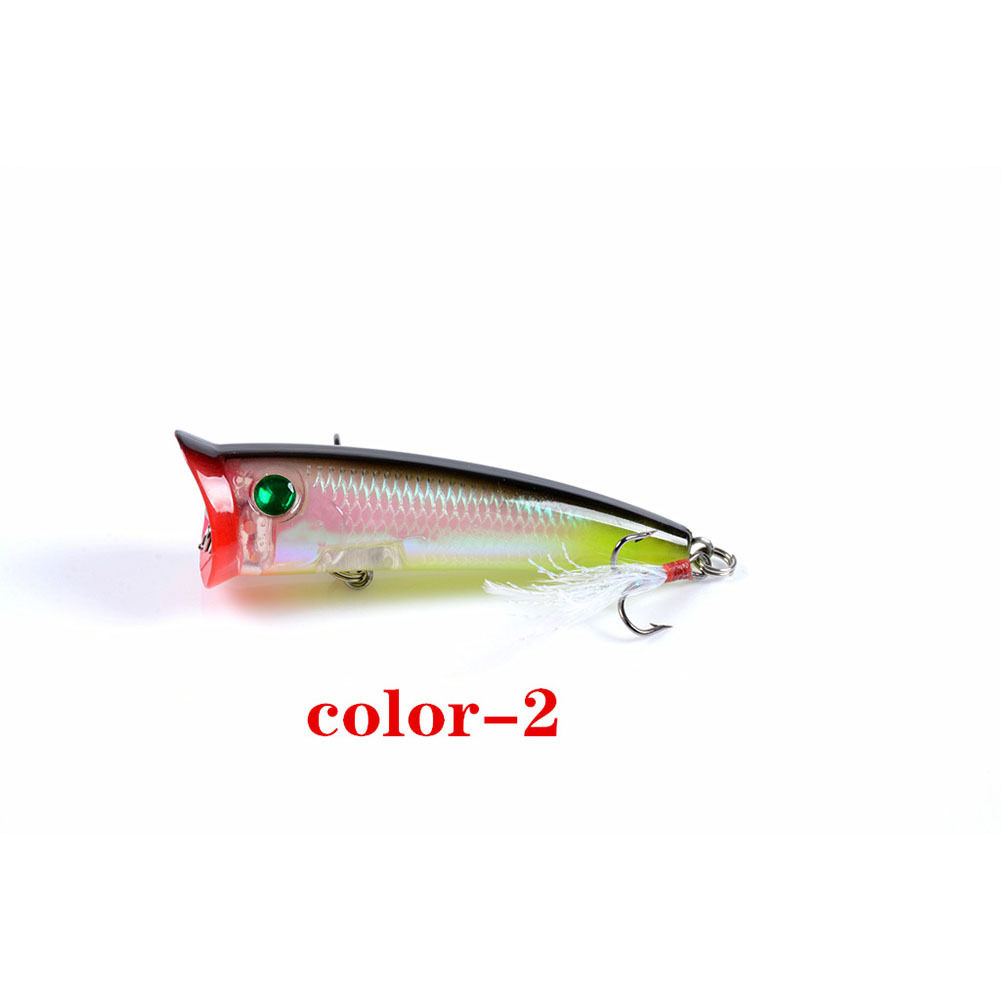 Fishing Lure 7.8cm 10.5g Topwater Wobbler Artificial Hard Bait with Feather Hook 2#
