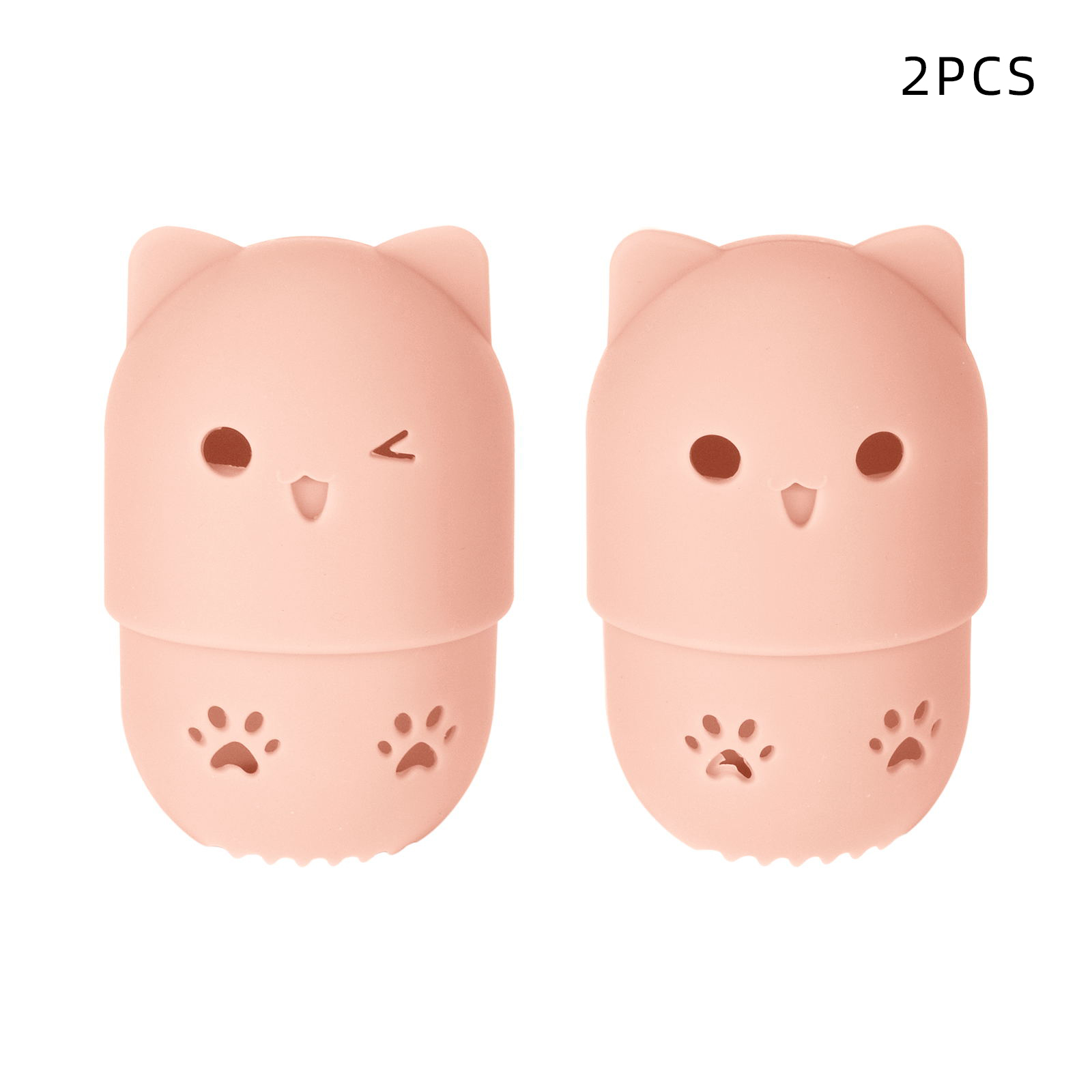 2pcs Beauty Powder Puff Case Silicone Beauty Egg Storage Eggshell Storage Box Protection Cover Case Pink