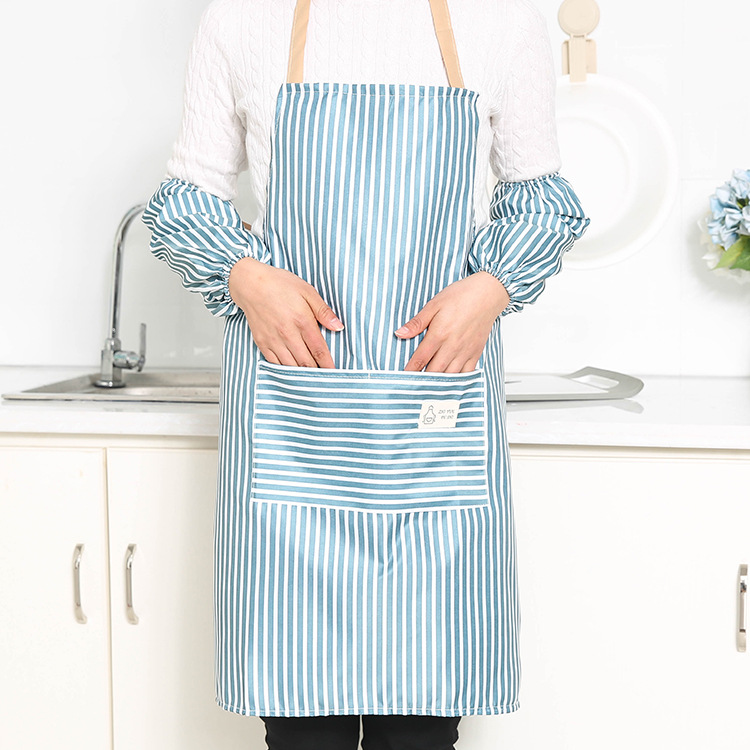 Kitchen Apron  Set Oil-proof Cooking Apron+Sleeves Fabric Protective Cover blue_Apron + sleeves