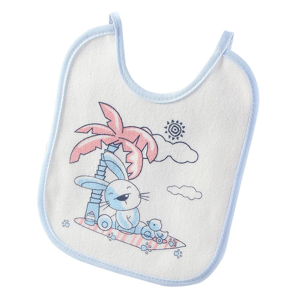 Infant Newborn Baby Bib Towel Waterproof Polyester Cotton Lovely Cartoon Printing Light blue