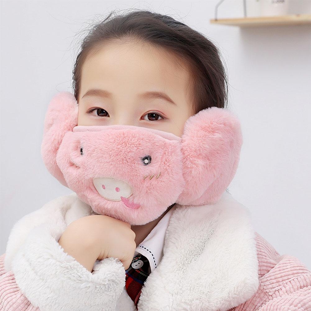 Kid 2-in-1 Warm Mask Earmuffs Cartoon Autumn Winter Thicken Plush Riding Outdoor Wear Pink_One size