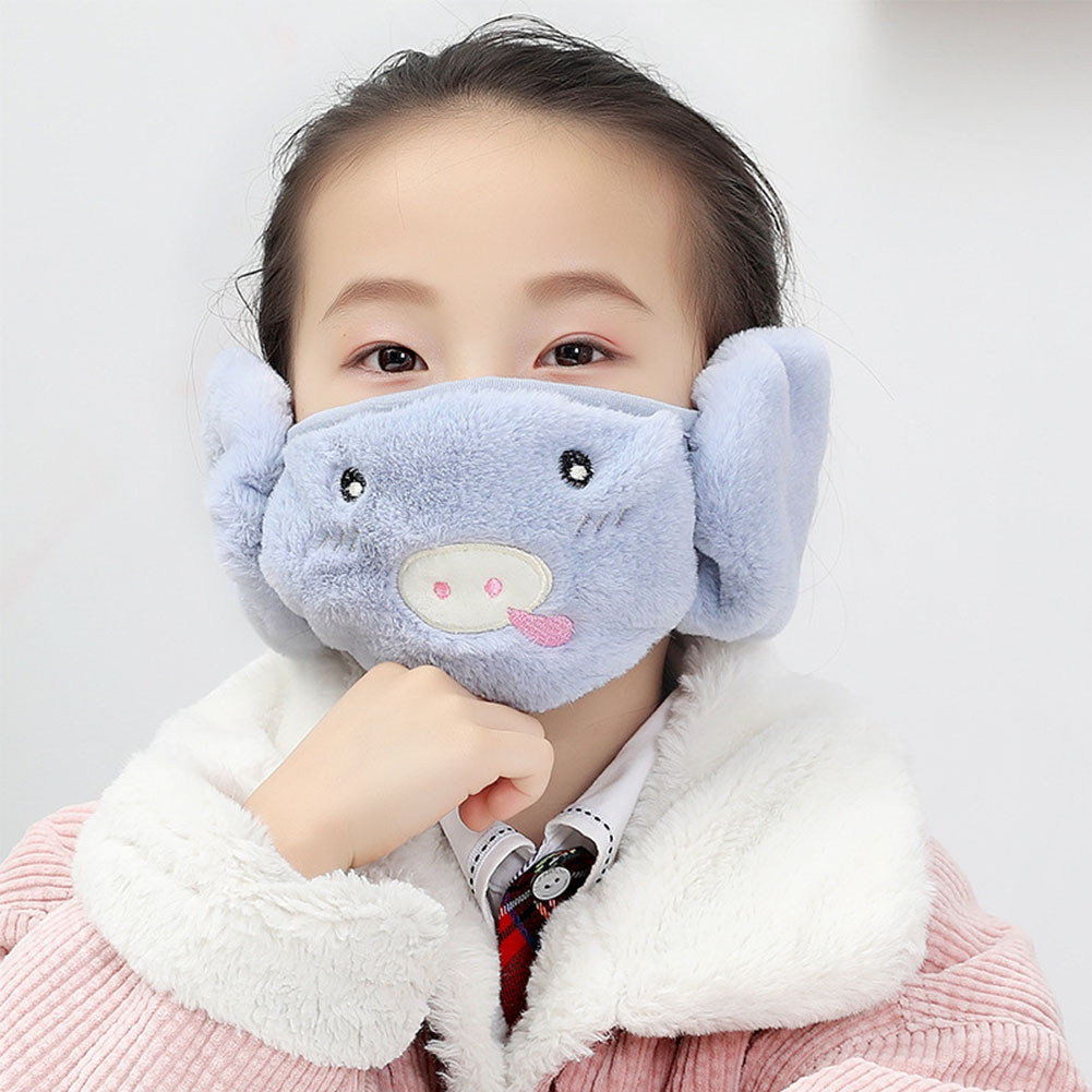Kid 2-in-1 Warm Mask Earmuffs Cartoon Autumn Winter Thicken Plush Riding Outdoor Wear Blue_One size