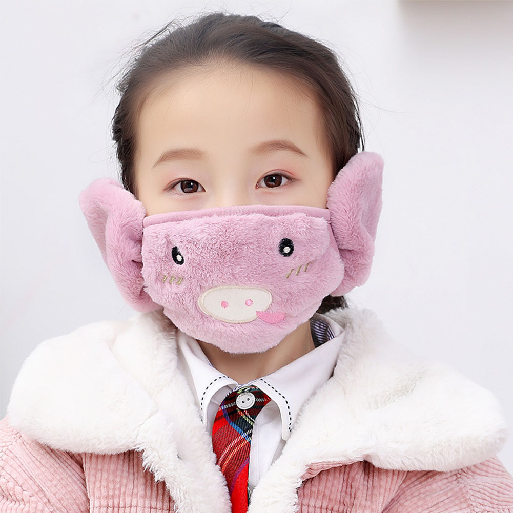 Kid 2-in-1 Warm Mask Earmuffs Cartoon Autumn Winter Thicken Plush Riding Outdoor Wear Light purple_One size